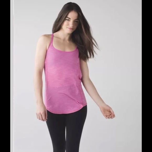 721d8590 lululemon athletica Tops | Lululemon Lighten Up Tank Heathered Pink ...